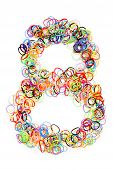 Colorful Elastic Rubber Bands Shape Number Eight