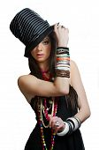 Girl with modern cylinder hat