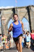 picture of cardio  - Running athlete training cardio on Brooklyn bridge - JPG