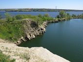 stock photo of groundwater  - Steep rocky shore of the river Dnieper - JPG