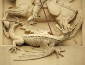 image of building relief  - Dragon killed by Saint George - JPG