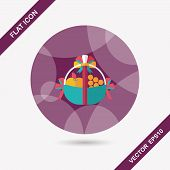 image of gift basket  - Fruit Gift Baskets Flat Icon With Long Shadow - JPG