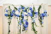 white photo-booth with blue hydrangeas