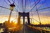 pic of bridge  - Brooklyn Bridge sunset New York Manhattan skyline NY NYC USA - JPG