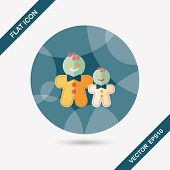 foto of ginger man  - Gingerbread Man Flat Icon With Long Shadow - JPG
