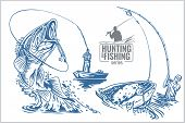 picture of spearfishing  - Fisherman and fish  - JPG