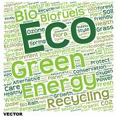 Vector concept or conceptual text word cloud isolated on background, metaphor to nature, ecology, green, energy, natural, life, world, eco, clean, organic, global, protect, environmental or recycling