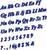 3D Blue Alphabet Letters & Numbers