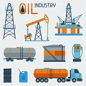 Industrial set of oil and petrol icon.