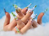 pic of nail-design  - Beauty spring floral design on women