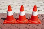 Three Signaling traffic cones