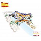Mosaic fountain In Barcelona