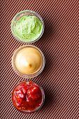 Adjika,mustard,wasabi In A Glass Bowl Close-up