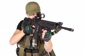 stock photo of m16  - mercenary with m16 rifle isolated on white  - JPG