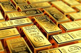 picture of treasury  - Many gold bars with shallow depth of field - JPG