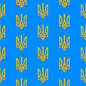 foto of trident  - National Ukranian seamless pattern with the golden tridents emblem on a blue background - JPG
