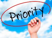stock photo of priorities  - Man Hand writing Priority with marker on transparent wipe board - JPG