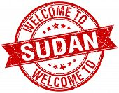 picture of sudan  - welcome to Sudan red round ribbon stamp - JPG
