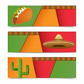 image of sombrero  - Mexican banners horizontal set with taco sombrero cactus isolated vector illustration - JPG