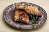image of roasted pork  - Roasted pork ribs with thyme and spices  - JPG