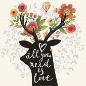 Постер, плакат: All you need is love Incredible deer silhouette with awesome flowers in horns Lovely spring concep