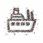picture of dick  - A large group of people in the shape of a ship - JPG