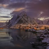 stock photo of reining  - Sunrise over Reine Lofoten islands Norway in winter - JPG