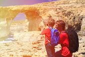 picture of gozo  - father and son making photo of Azure Window on Gozo island - JPG