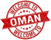 foto of oman  - welcome to Oman red round ribbon stamp - JPG