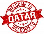 picture of qatar  - welcome to Qatar red round ribbon stamp - JPG