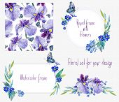 pic of blue butterfly  - Set of different blue and lilac flowers butterflies two frames decorative element and seamless pattern for design - JPG