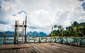 picture of dam  - Beautiful mountains lake river sky and natural attraction in Ratchaprapha Dam at Khao Sok National Park - JPG