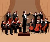 stock photo of orchestra  - Symphonic orchestra with conductor violins chello and trumpet musicians flat vector illustration - JPG