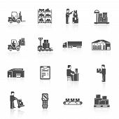 image of cart  - Warehouse black icons set with forklift cart pallet isolated vector illustration - JPG