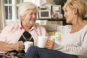 pic of visitation  - Adult Daughter Visiting Senior Mother Sitting On Sofa At Home - JPG