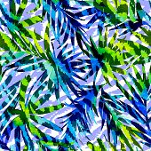pic of jungle exotic  - seamless jungle pattern with tropical floral sihouettes and animal zebra stripes texture in double exposure - JPG