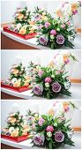 stock photo of bouquet  - Beautiful bouquets of rose flowers - JPG