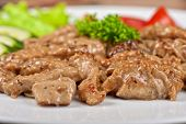 image of pork chop  - Pork chop with vegetable at plate - JPG