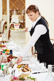 stock photo of banquet  - Restaurant catering services - JPG