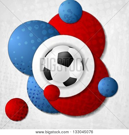 European Football Championship in France. Abstract background with circles colored in French flag. V
