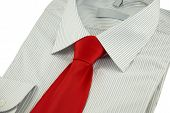 New Striped Shirt With Red Silk Necktie Over White