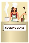 pic of chefs hat  - Attractive woman chef teaching others how to cook - JPG