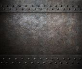 rust steel metal texture with rivets 3d illustration poster