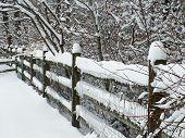 pic of split rail fence  - Snow scene of a split rail fence - JPG