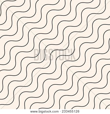 poster of Diagonal Thin Wavy Lines Vector Seamless Pattern. Subtle Monochrome Background With Delicate Waves.