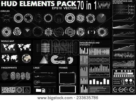 poster of Hud Elements Pack. 70 Elements. Sci Fi Futuristic User Interface. Menu Button. Vector Illustration,