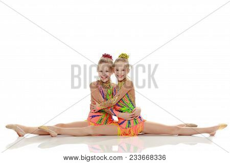 Two Adorable Little Twin Girls, Gymnastics In The Sports School  Girls  Beautiful Gymnastic Leotards  poster