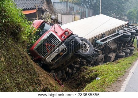 poster of Accident On Mountainous Road, Motor Vehicle Accident, Car Wreck. Long Vehicle Overturned And Lying I