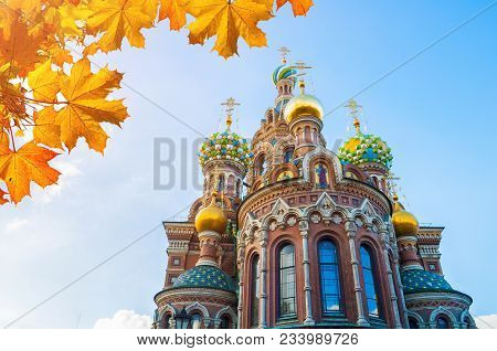 poster of St Petersburg, Russia. Cathedral Of Our Savior On Spilled Blood In St Petersburg, Russia, Closeup Fa