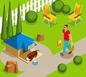 Ordinary Life Of Dog And Owner, Canine Sleep In Garden, Man With Dry Feed Isometric Vector Illustrat poster